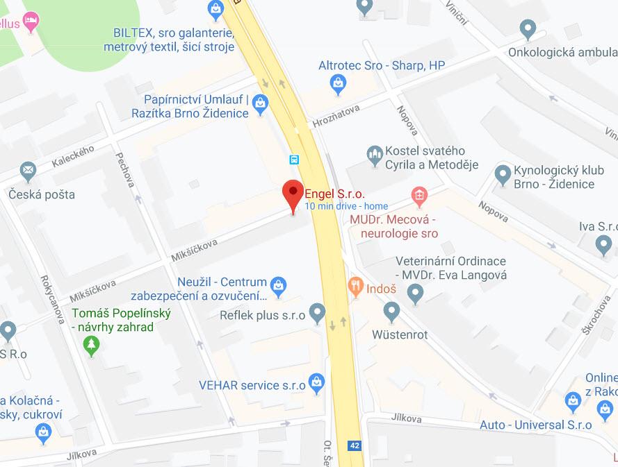Engel s.r.o. mapa
